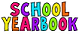 School yearbook in colorful letters