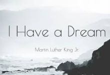 Words of I Have a Dream for Martin Luther King Jr Day and photo of water/rocks
