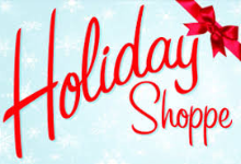 Photo of words Holiday Shoppe in red with a bow