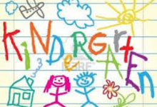 boy and girl stick figure and kindergarten as drawn  by a child