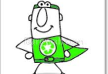 cartoon figure of superhero wearing recycling logo
