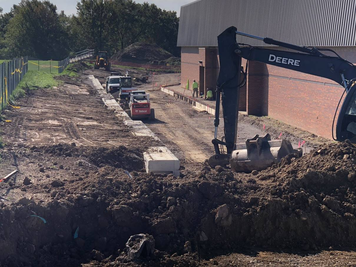 10-16-18 North Royalton High School - Concrete sidewalks being formed and poured for new bus drop of