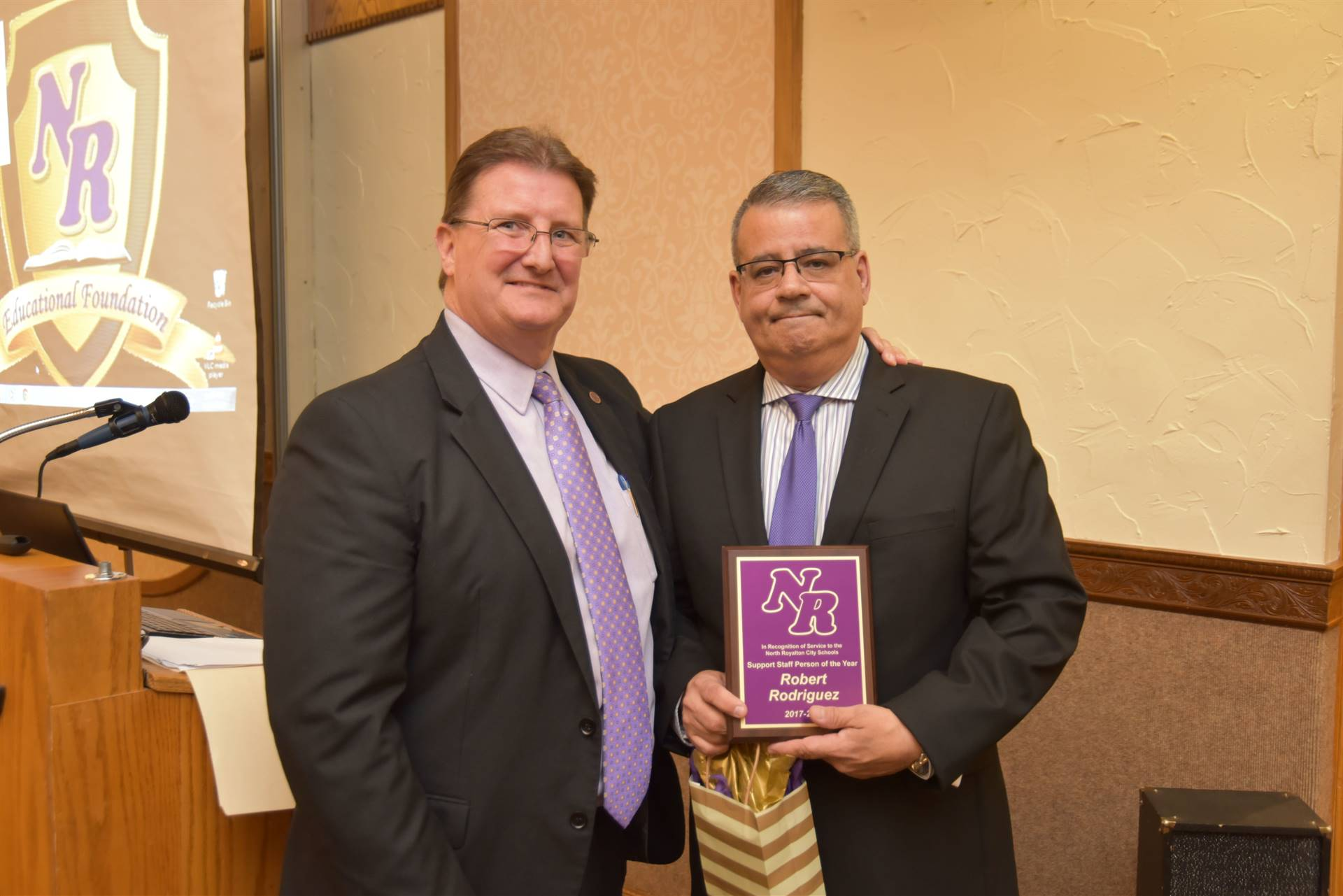 Superintendent Gurka and Support Staff Person of the Year - Bob Rodriguez