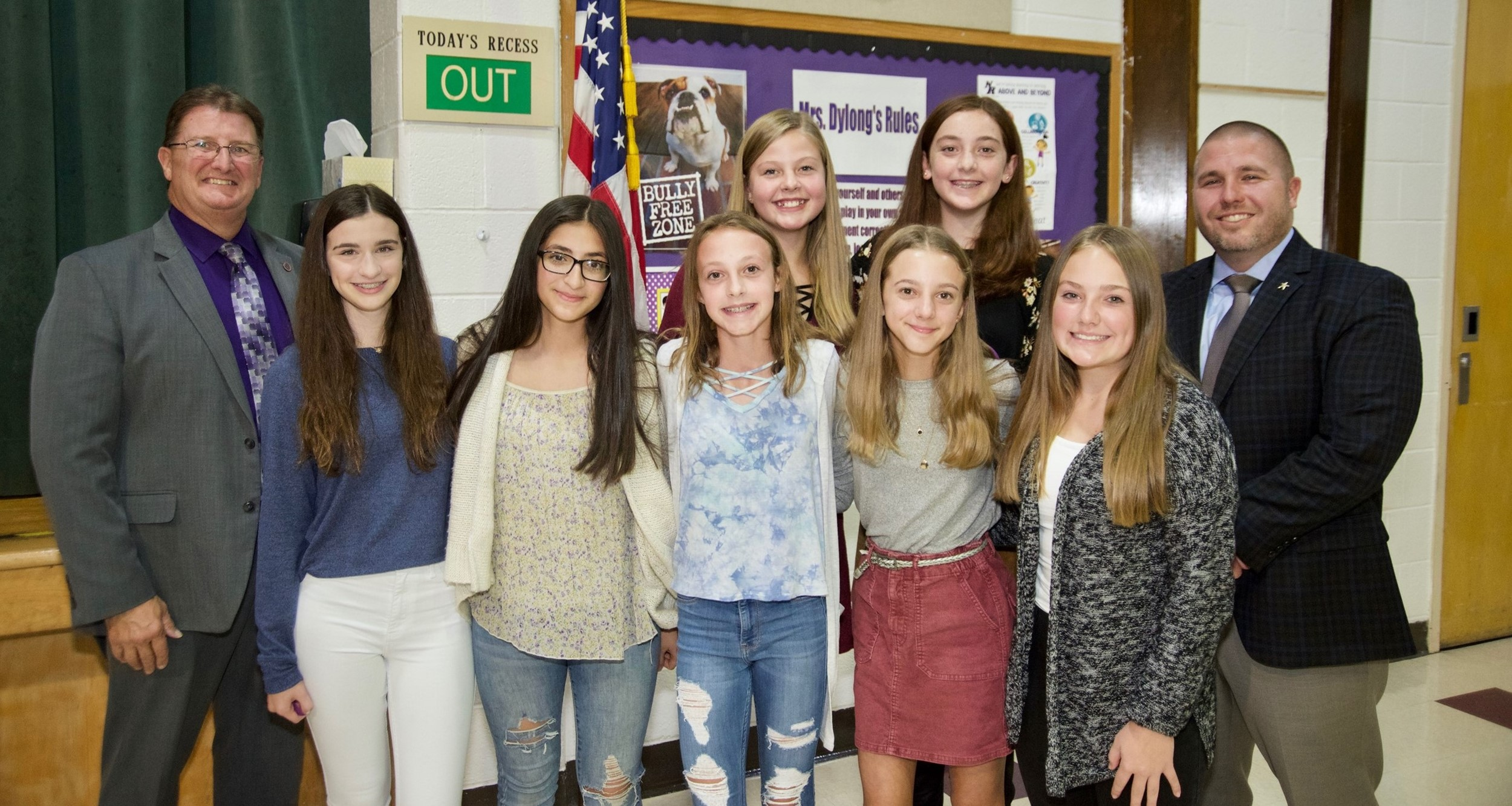 middle school students at October board meeting