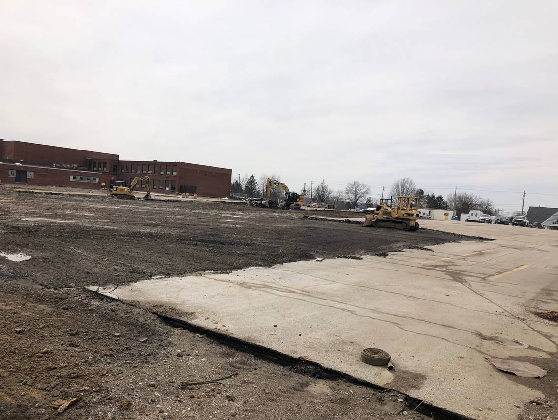 Much of the parking lot pavement has been removed. Getting the area prepped for the building pad.