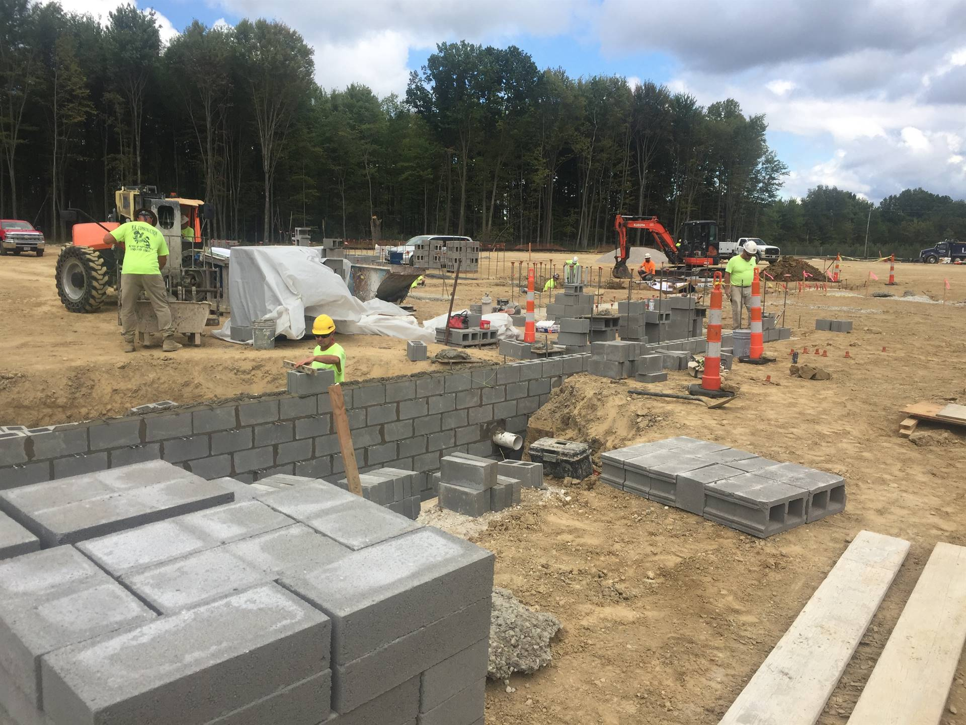 9-23-19 Footers and first blocks being installed at North Royalton Elementary School