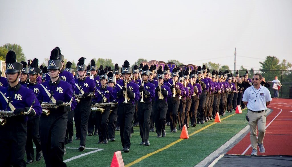 high school marching band at homecoming