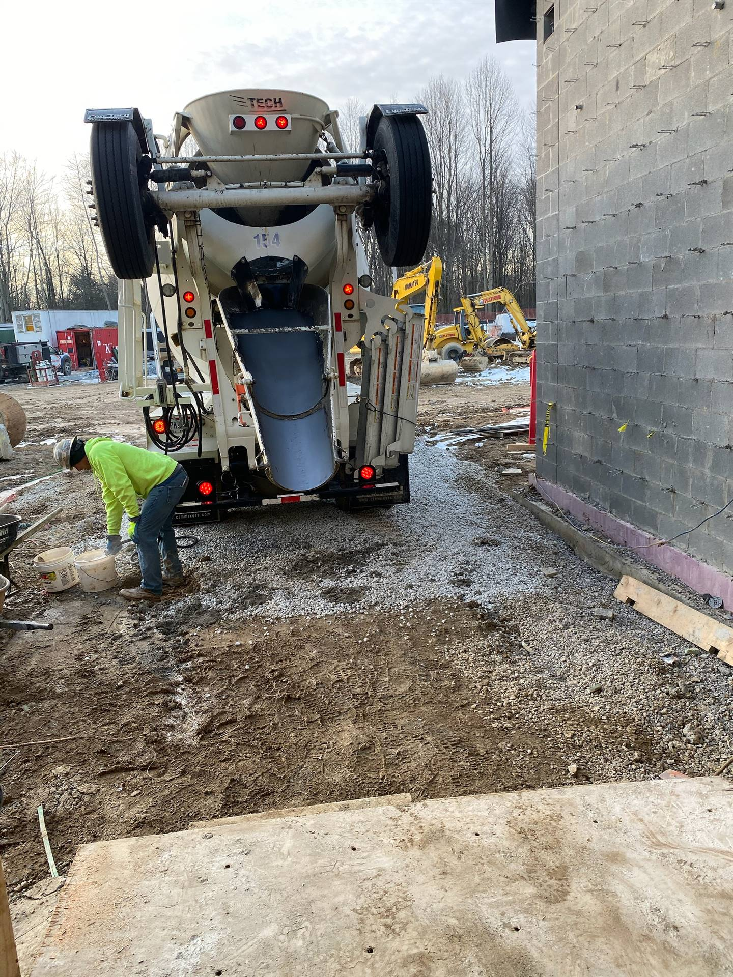 Elementary kitchen being poured on 2/12/20. Approx 70 yards of cement.