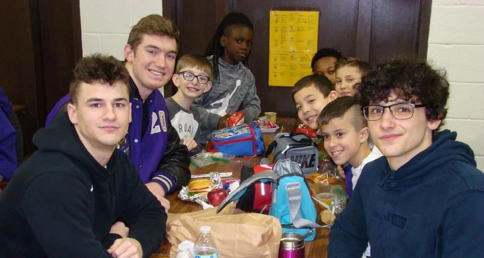 Royal View students having lunch with high school students