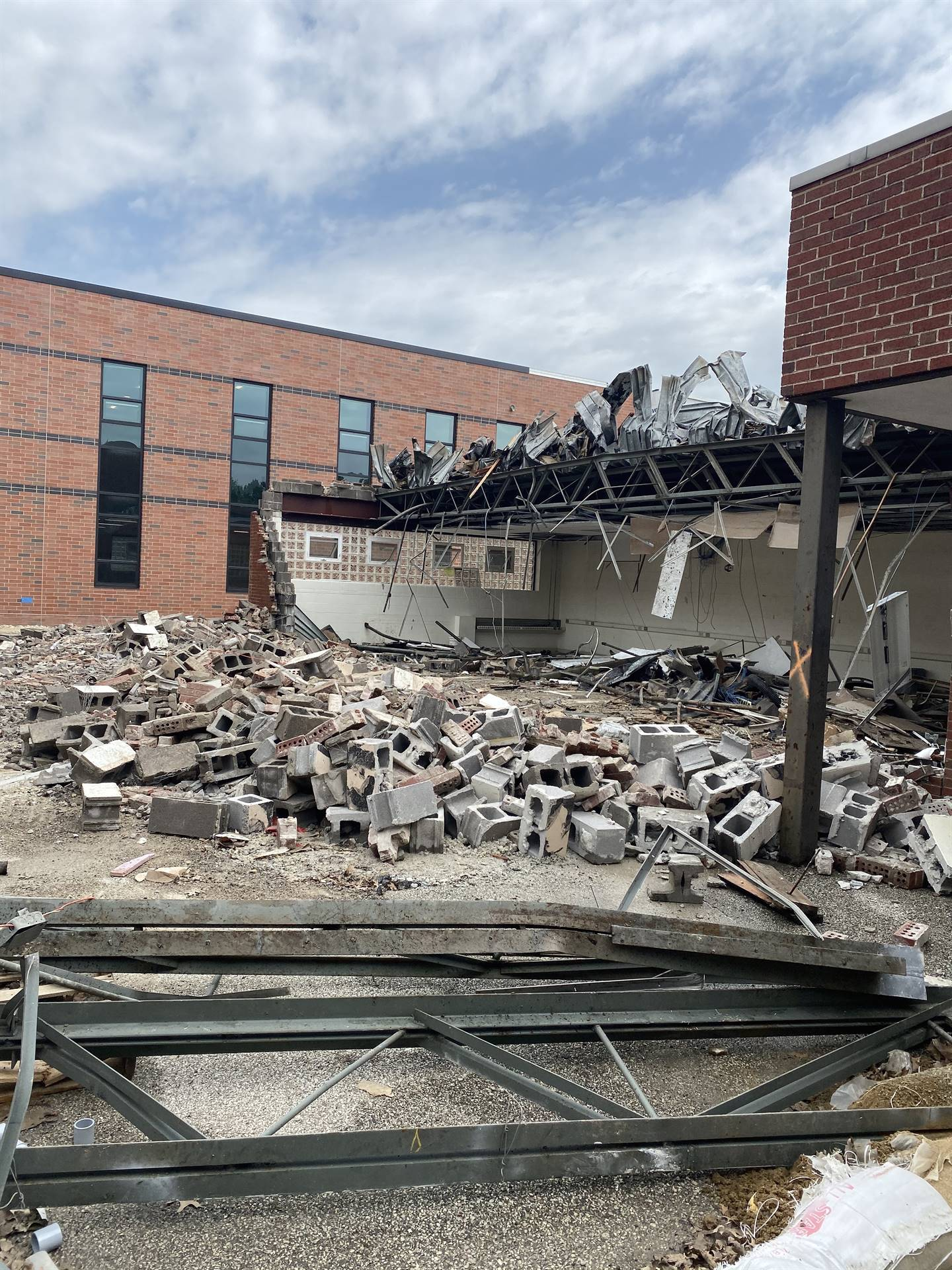 Demolition on a small part of NRHS has started to make way for the new main entrance. 6-2-20