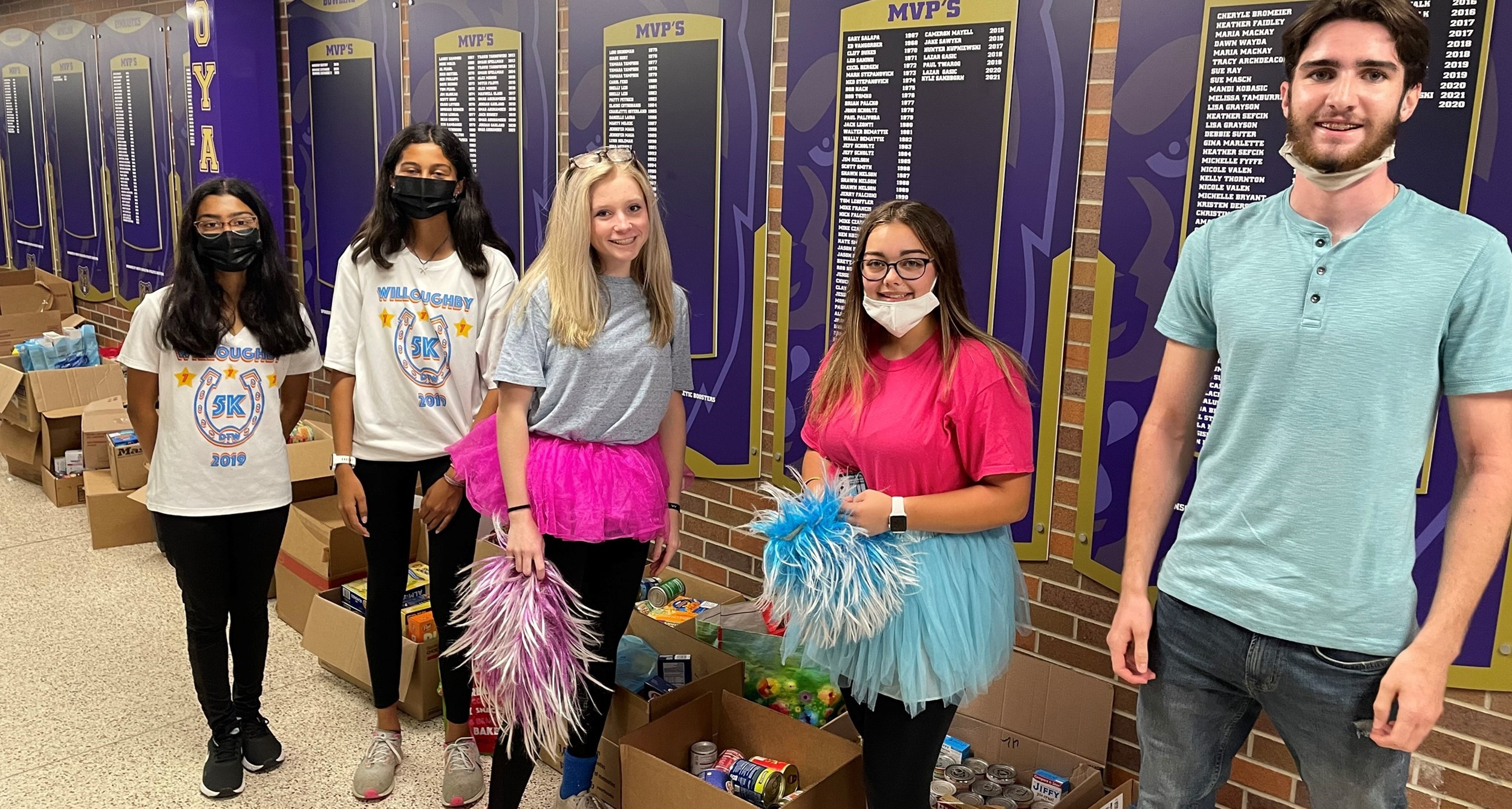 food drive collection at the high school